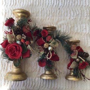 Set of 3 Christmas Candlesticks